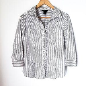WHBM | Career Wear Pinstripe Ruffle Front Blouse